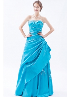 Aqua Taffeta Long Cheap Quinceanera Dresses under 200