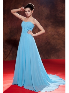 Aqua Red Carpet Long Chiffon Empire Celebrity Dress