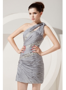 Beautiful Silver One Shoulder Short Cocktail Dress