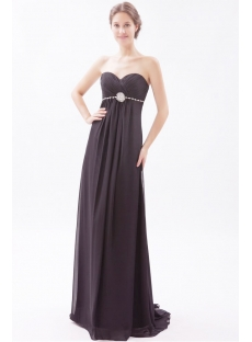Black Long Chiffon Pregnant Prom Dresses with Sweetheart