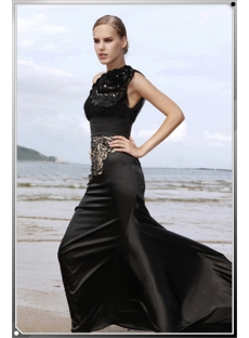 Black Modest Middle Length Sleeves Vintage Evening Dress with Scoop