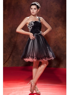 Black One Shoulder Charming Sweet 16 Gown
