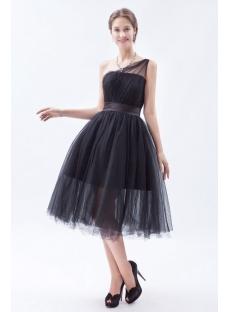 Black One Shoulder Tulle Short Wedding Dresses
