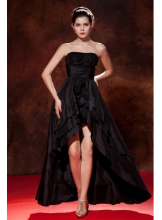 Black Taffeta Sweet 16 Dress with High-low Hem