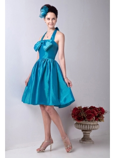 Blue Halter Simple Homecoming Dress for College
