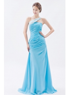 Blue Wonderful Sheath Long One Shoulder Prom Dress