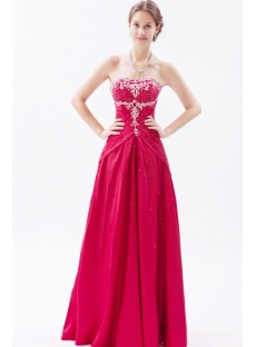 Burgundy Long Taffeta Beaded 2013 Ball Gown Dresses