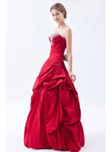 Burgundy Pick up Taffeta Long Cheap Quinceanera Dresses