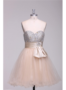 Champagne Beaded Short Quinceanera Court Dresses