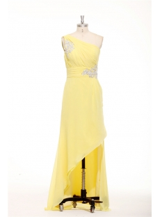 Charming Asymmetrical Neckline Yellow Semi Formal Dresses Plus Size