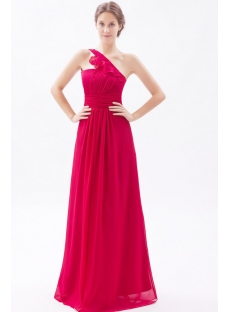 Charming Burgundy Long Modest Bridesmaid Dress with One Shoulder