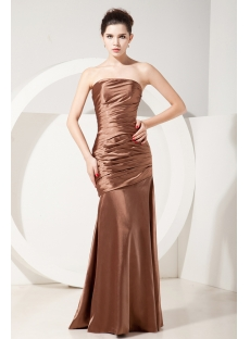 Charming Gold and Brown Sheath Long Graduation Dress