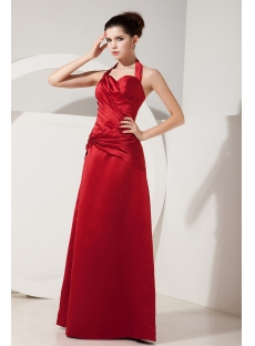 Charming Halter Long Satin Graduation Gowns