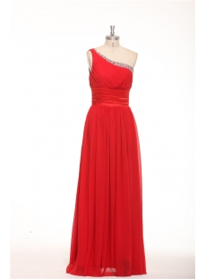 Charming One Shoulder Red Long Plus Size Evening Dress