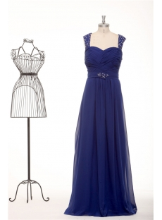 Chic Royal Blue Straps Plus Size Modest Bridesmaid Dresses