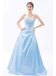 Chic Turquoise Strapless Taffeta 2014 Quinceanera Dress with Corset