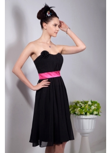 Chiffon Black Little Party Dresses with Hot Pink Waistband