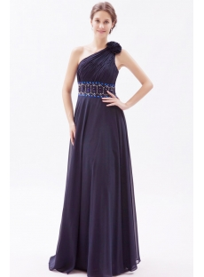 Chiffon Navy Blue Formal Bridesmaid Dresses with One Shoulder
