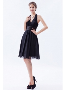 Classy Chiffon Halter Little Black Dress for Prom