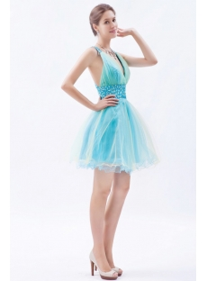 Colorful Short/Mini Tulle Cocktail Dress With Plunge V-Neckline