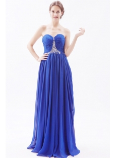 Column Royal Blue Long Chiffon Plus Size Evening Dress