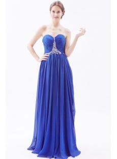 Column Royal Blue Long Chiffon Plus Size Evening Dress