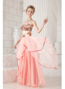 Coral Long Strapless Colorful Quinceanera Dress Cheap