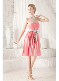 Coral and Silver Short Inexpensive Bridesmaid Dress