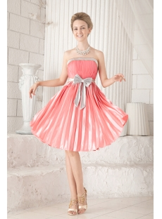C And Silver Short Inexpensive Bridesmaid Dress