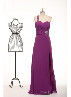 Dark Purple One Shoulder Long Chiffon Criss Strap Evening Dress