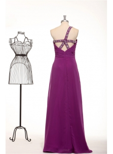 Dark Purple One Shoulder Long Chiffon Criss Strap Evening Dress