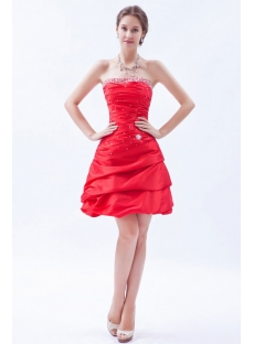 Dramatic Red Taffeta Strapless Short Quince Dress
