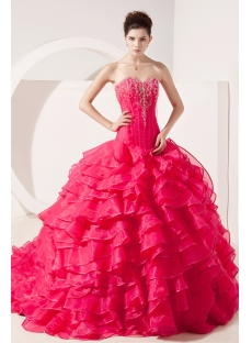 Drop Waist 2014 Puffy Ruffled Quinceanera Gown