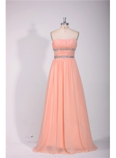 Elegant Strapless Long Chiffon Evening Dress Cheap
