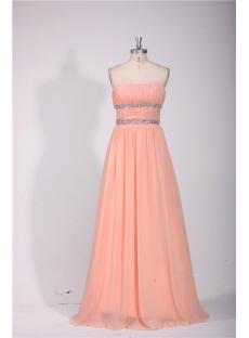 Elegant Strapless Long Chiffon Evening Dress Cheap