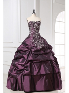Embroidery Taffeta Grape 15 Quinceanera Gown with Sweetheart
