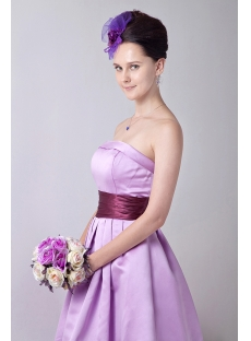 Exquisite Strapless Lavender Short Junior Bridesmaid Gowns