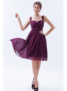 Fabulous Grape Chiffon Graduation Dress with Sweetheart