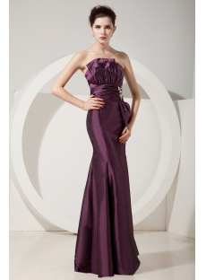 Fabulous Grape Sheath Strapless Floor-Length Prom Dress