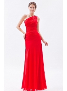 Fabulous Modest Red One Shoulder Long Sheath Prom Dress 2014