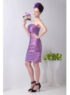 Fancy Column Strapless Short Ruched Bridesmaid Dresses