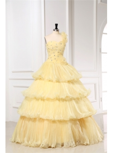 Floral One Shoulder Yellow 15 Quinceanera Dresses