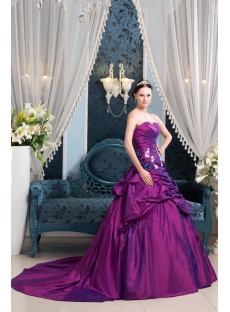 Fuchsia Beautiful A-line Taffeta Wedding Dress 2014