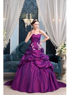 Fuchsia Beautiful A Line Taffeta Wedding Dress 2017