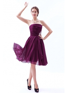 Fuchsia Chiffon Strapless Short Bridesmaid Dress 2012