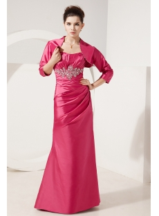 Fuchsia Long Mother of Groom Dress with 3/4 Sleeves Jacket