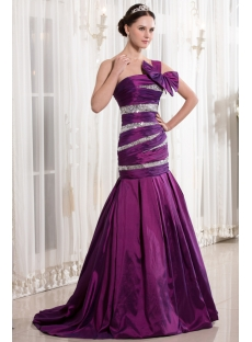 Fuchsia Mermaid Style Quinceanera Dresses with One Shoulder