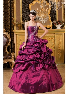 Fuchsia Mystique One Shoulder 2012 Quinceanera Dresses