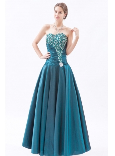 Glamorous Long Taffeta Sweetheart Hunter Green Affordable Quinceanera Gown