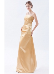 Gold Strapless Long Satin Evening Dresses Cheap